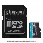Kingston 64GB microSDXC Canvas Go! Plus 170R A2 U3 V30 Card + adapterrel