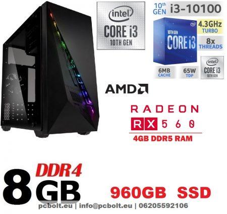 Gamer PC: Intel Core i3 CPU+ AMD Radeon RX 550 2GB DDR5 VGA+4GB DDR4 RAM