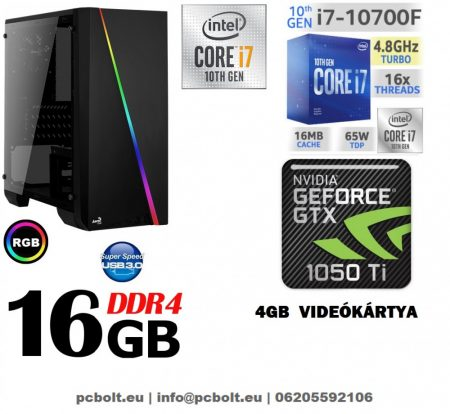 Gamer PC: Intel Core i7 CPU+ Nvidia GTX 1050Ti 4GB VGA+ 8GB DDR4 RAM