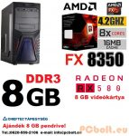 Gamer PC: AMD 8 magos max. 4 Ghz CPU+VGA: AMD Radeon RX 480 4GB DDR5+8GB DDR3 RAM