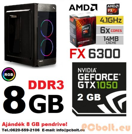 Gamer PC: AMD 6 magos max. 4.1Ghz CPU+Nvidia GTX 1050 2GB DDR5 VGA+8GB DDR3 RAM