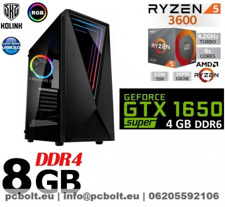 Gamer PC: AMD RYZEN 5 4 magos CPU+ Nvidia GTX1050Ti 4GB VGA+8GB DDR4 RAM