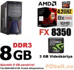 Gamer PC: AMD 8 magos max. 4 Ghz CPU+Nvidia GTX 1060 3GB DDR5 VGA+8GB DDR3 RAM