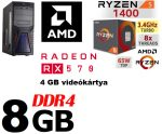 Gamer PC: AMD RYZEN 5 1400 CPU+Radeon RX 570 4GB VGA+8GB DDR4 RAM