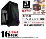Gamer PC: AMD RYZEN 5 1600  6 magos CPU+Radeon RX 580 8GB VGA+16GB DDR4 RAM