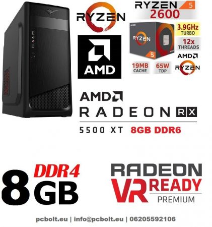 Gamer PC: AMD RYZEN 5 1600  6 magos CPU+Radeon RX 580 8GB VGA+8GB DDR4 RAM