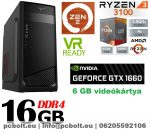 Gamer PC: AMD RYZEN 5 1400 CPU+GTX 1060 6GB VGA+16GB DDR4 RAM