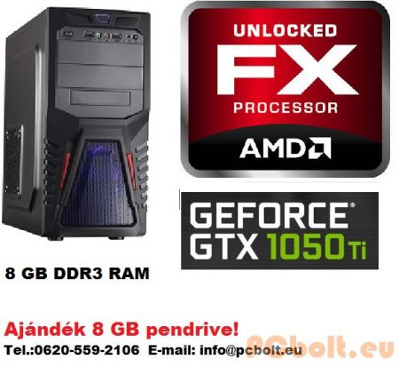 Gamer PC: AMD 6 magos max. 4.1Ghz CPU+Nvidia GTX 1050 Ti 4GB DDR5 VGA+8GB DDR3 RAM