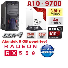 Gamer PC: AMD A10 3.5Ghz 4magos CPU+AMD RX 550 2GB vga+4GB DDR4 RAM