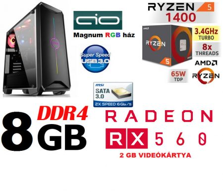 Gamer PC: AMD RYZEN 5 4 magos CPU+ AMD Radeon RX 560 2GB DDR5 VGA+8GB DDR4 RAM