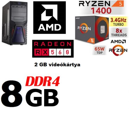 Gamer PC: AMD RYZEN 5 1400 CPU+Radeon RX 560 4GB VGA+8GB DDR4 RAM