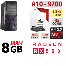 Gamer PC: AMD A10 3.5Ghz  4magos CPU+AMD RX 550 2GB vga+8GB DDR4 RAM
