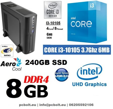 Vékony PC: Intel Core i3 CPU+8GB DDR4 RAM+240GB SSD+GTX 1050 2 GB VGA