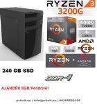 Asztali PC: AMD Ryzen 2200G  4 magos max 3.7Ghz CPU+120GB SSD+4GB DDR4 RAM