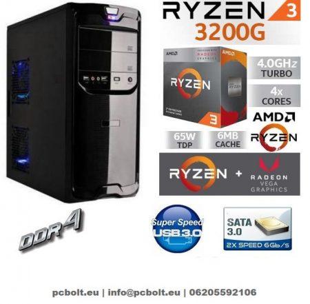 Asztali PC:AMD Ryzen 2200G  4 magos CPU max. 3.7Ghz+4GB DDR4 RAM+1TB HDD