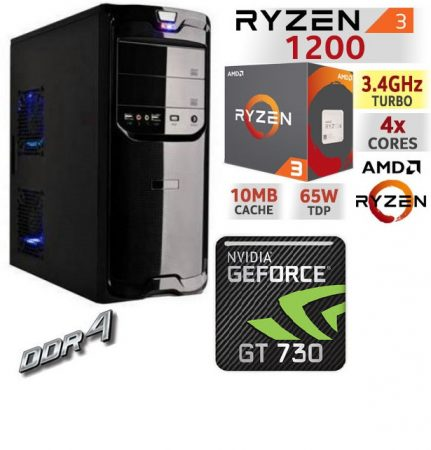 Kezdő Gamer PC:AMD Ryzen 1200  4 magos CPU+ Nvidia GT 730 2GB VGA+4GB DDR4 RAM