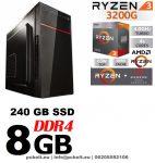 Asztali PC: AMD Ryzen 2200G  4 magos max. 3.7 Ghz CPU+120GB SSD+4GB DDR4 RAM