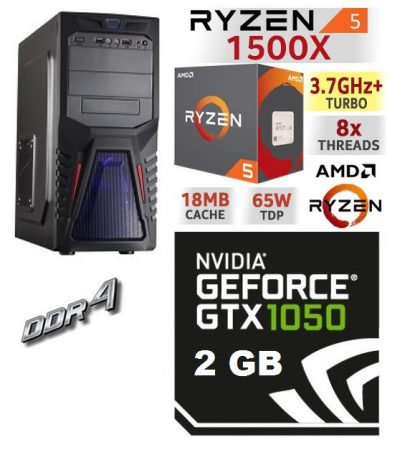 Gamer PC: AMD Ryzen 1300X  3.7 Ghz 4 magos CPU+ Nvidia GTX 1050 2GB VGA+4GB DDR4 RAM