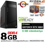Gamer PC: AMD Ryzen 3600X  6 magos CPU+ Nvidia GTX 1660 6GB VGA+ 8GB DDR4 RAM