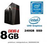 Asztali számítógép: Intel Celeron G4900 3,1Ghz 2 magos CPU+4GB DDR4 RAM+120GB SSD