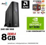 Vékony GAMER PC: AMD Ryzen3   4 magos CPU+8GB DDR4 RAM+240GB SSD+ GT 1030 2GB VGA