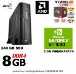 Vékony GAMER PC: AMD Ryzen3   4 magos CPU+8GB DDR4 RAM+240GB SSD+ GT 1030 2GB VGA