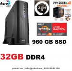 Vékony GAMER PC: AMD Ryzen5   4 magos CPU+8GB DDR4 RAM+240GB SSD+ GTX 1050Ti 4GB   VGA