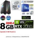 Gamer PC: Intel Core i5 6 magos CPU 9. Generáció!+ Nvidia RTX 2060 6GB VGA+ 8GB DDR4 RAM