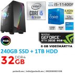 Gamer PC: Intel Core i5 6 magos CPU 9. Generáció!+ Nvidia RTX 2060 6GB VGA+ 16GB DDR4 RAM