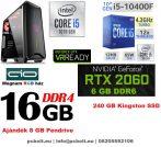Gamer PC: Intel Core i5 6 magos CPU 9. Generáció!+ Nvidia RTX 2060 6GB VGA+ 16GB DDR4 RAM+240GB SSD