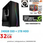 Gamer PC: AMD RYZEN 7 2700 8 magos CPU+Nvidia RTX 2060 6GB VGA+16GB DDR4 RAM