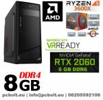 Gamer PC: AMD Ryzen 1300X  3.7 Ghz 4 magos CPU+ Nvidia RTX 2060 6GB VGA+ 8GB DDR4 RAM
