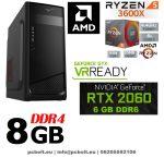 Gamer PC: AMD Ryzen 3600X 6 magos CPU+ Nvidia RTX 2060 6GB VGA+ 8GB DDR4 RAM