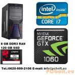 Gamer PC: Intel Core i5 4 magos CPU+GTX1060 6GB VGA+120GB SSD+8GB DDR3 RAM