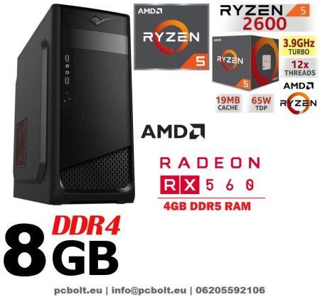 Gamer PC: AMD 8 magos max. 4 Ghz CPU+AMD RX 550 2GB vga+4GB DDR3 RAM