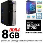 Kezdő Gamer PC: Intel Core i3 CPU+ Nvidia GT 730 2GB VGA+4GB DDR4 RAM