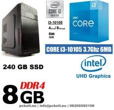 Asztali PC: Intel Core i3 4 magos CPU+240GB SSD+8GB DDR4 RAM