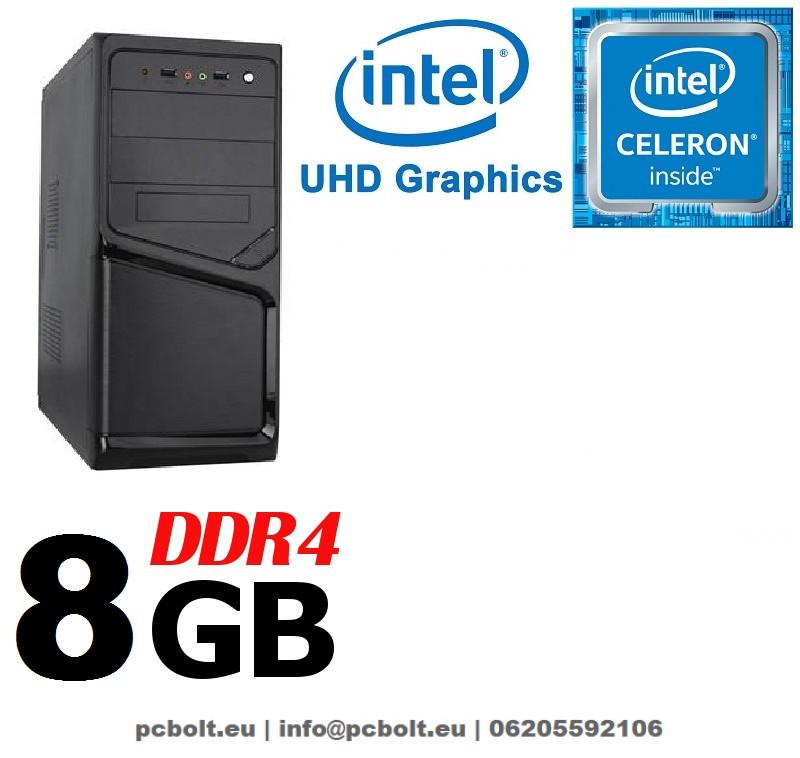 Asztali számítógép: Intel Celeron G3900 2,8Ghz 2 magos CPU+4GB DDR4 RAM